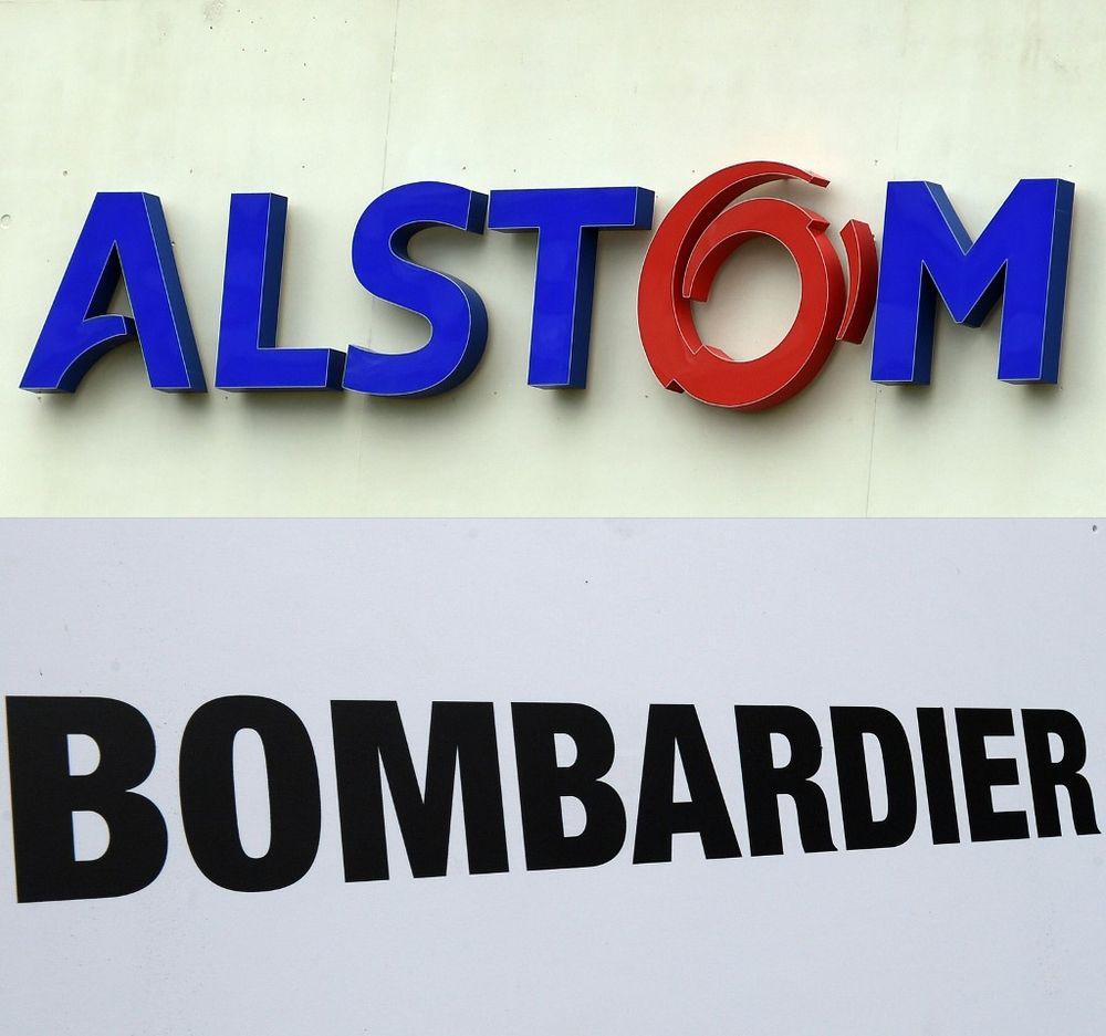 Combination of file photographs created on February 17, 2020, shows (top) the logo of French power and transport engineering company Alstom and (bottom) the logo of the Bombardier company. — AFP pic