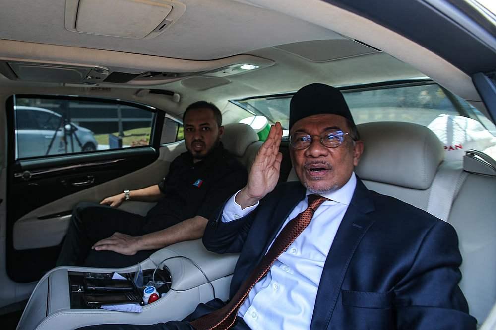 PKR president Datuk Seri Anwar Ibrahim at Istana Negara, Kuala Lumpur February 29, 2020. — Picture by Hari Anggara