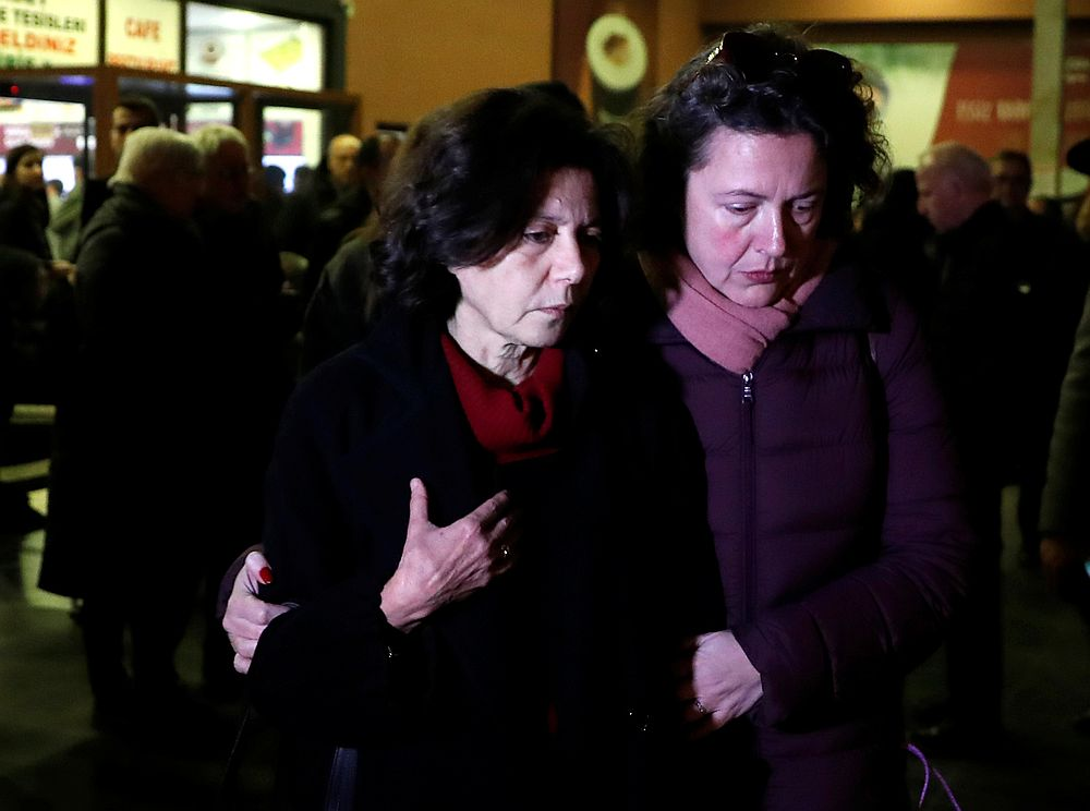 Ayse Bugra (left), wife of Osman Kavala, Turkish businessman and philanthropist, leaves a restaurant in Silivri, near Istanbul, Turkey February 18, 2020. — Reuters pic