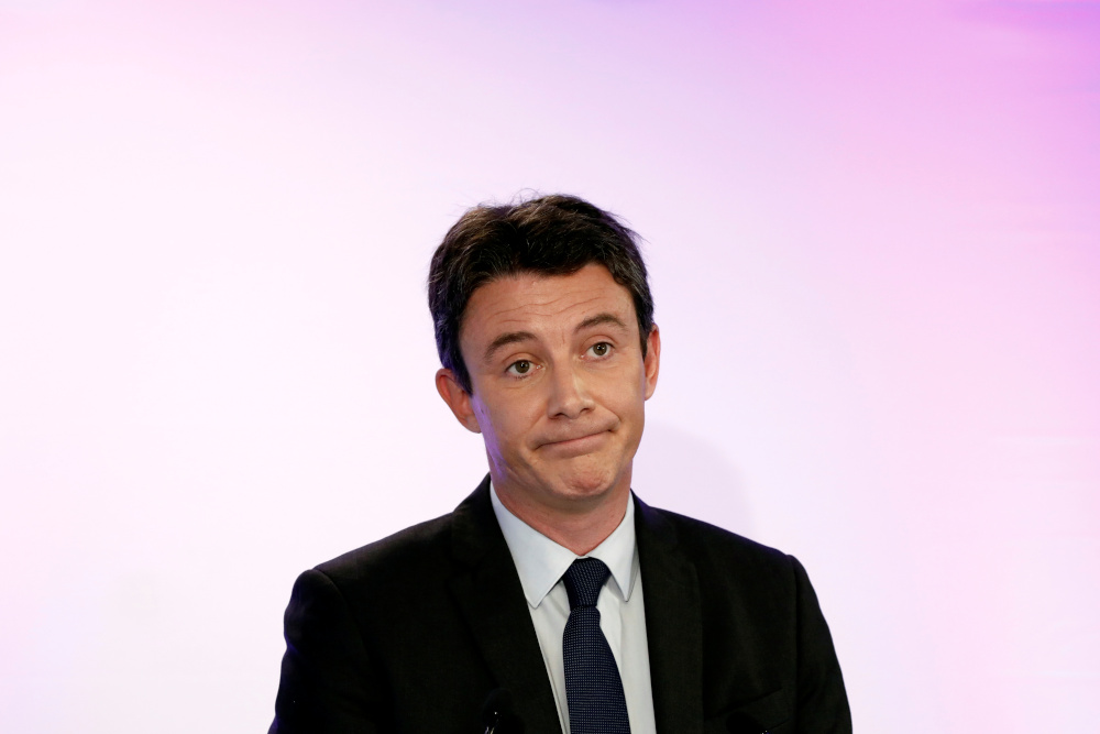 Former French government spokesperson and candidate for the upcoming Paris 2020 mayoral election Benjamin Griveaux attends a news conference in Paris, France, February 5, 2020. — Reuters pic