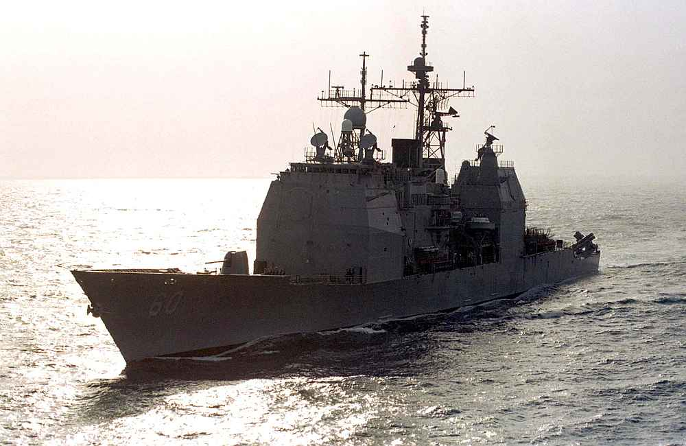 File picture of the USS Normandy, a Ticonderoga class US Navy cruiser, patrolling the northern Gulf.  — Reuters pic