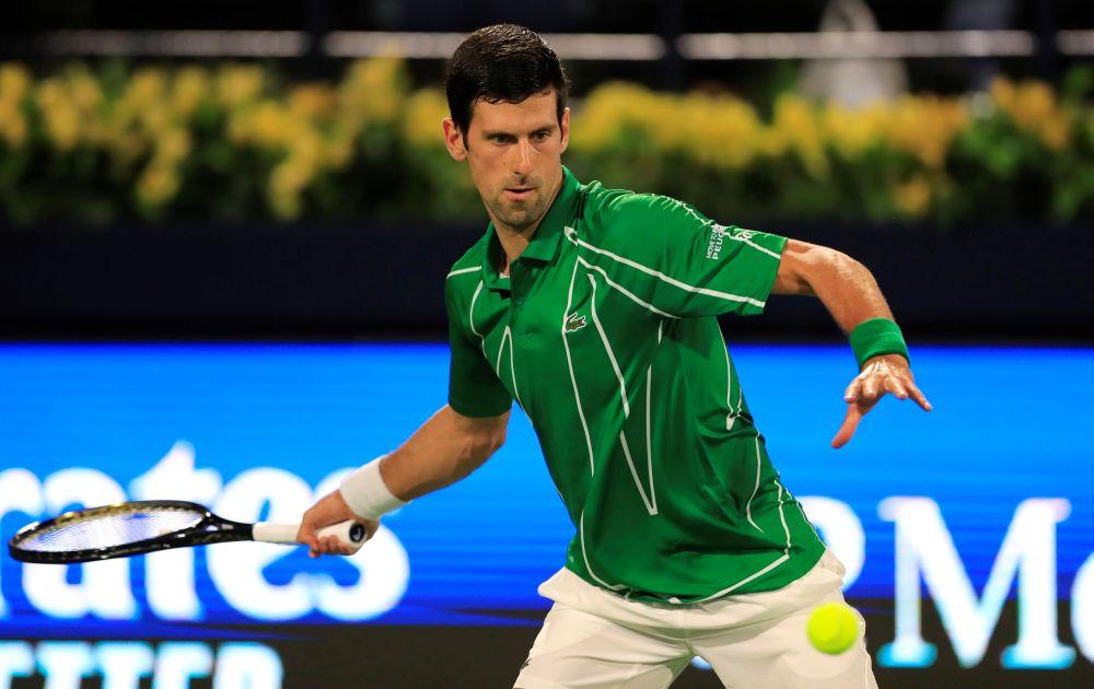Serbia's Novak Djokovic in action during his match against Tunisia's Malek Jaziri in Dubai February 24, 2020. — Reuters pic