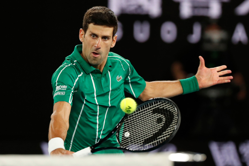 Serbia's Novak Djokovic in action during his match against Austria's Dominic Thiem in the Australian Open Men's Singles final at Melbourne Park, Australia February 2, 2020. — Reuters pic