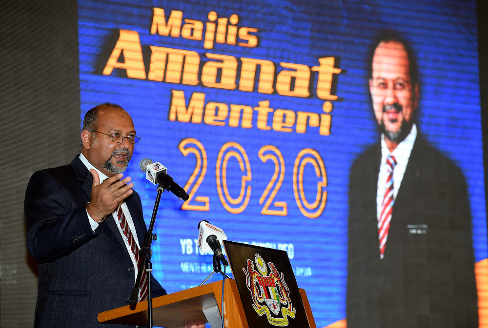 Communications and Multimedia Minister Gobind Singh Deo giving a speech at the Minister's Message's event at the Communications and Multimedia Ministry in Putrajaya February 3, 2020. — Bernama pic