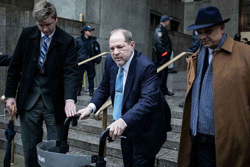 Film producer Harvey Weinstein leaves Criminal Court during his sexual assault trial in New York February 6, 2020. — Reuters pic