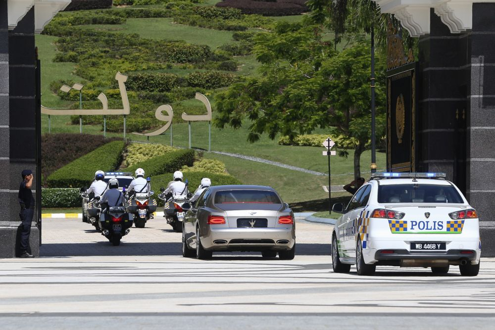 Vehicles ferrying the Malay Rulers are seen entering the main entrance gate of Istana Negara in Kuala Lumpur February 28, 2020. — Picture by Yusof Mat Isa