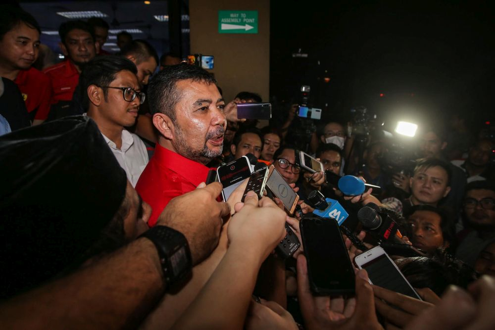 Datuk Marzuki Yahya speaks to reporters after a meeting at the Parti Pribumi Bersatu Malaysia headquarters in Petaling Jaya February 24, 2020. — Picture by Hari Anggara