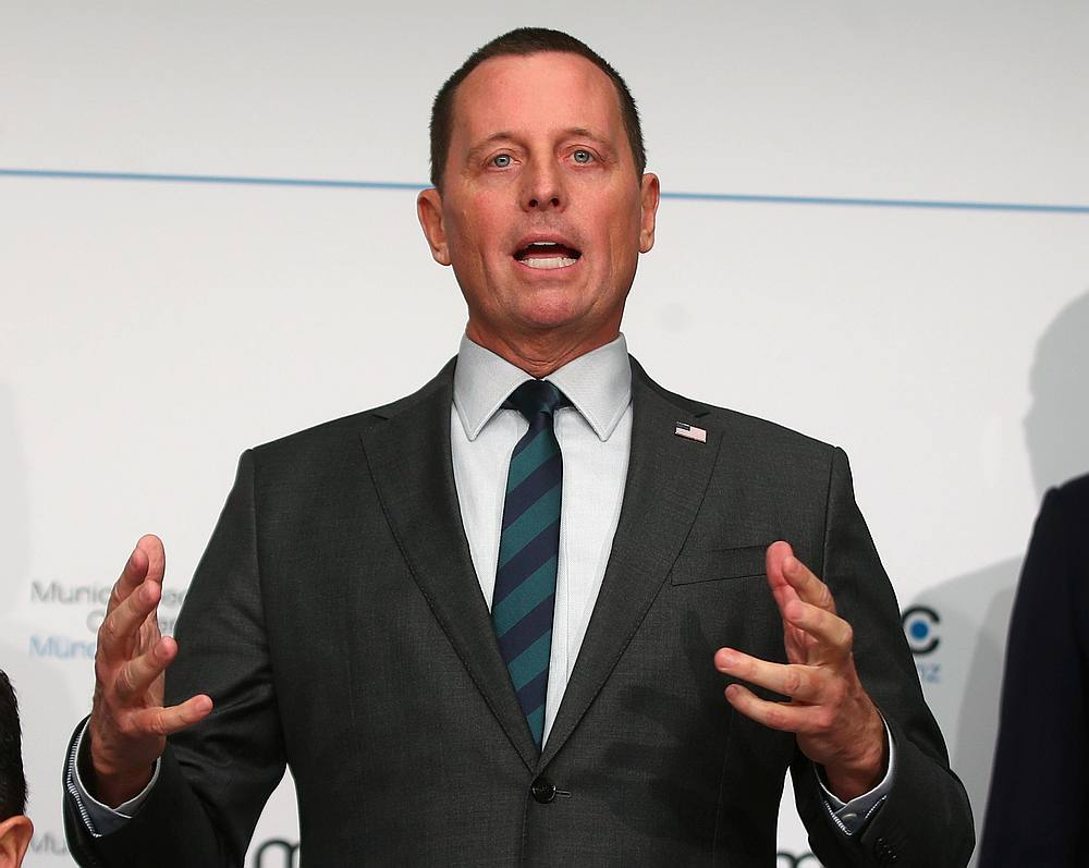 Richard Grenell was named late Wednesday by Trump as acting director of national intelligence. — Reuters pic
