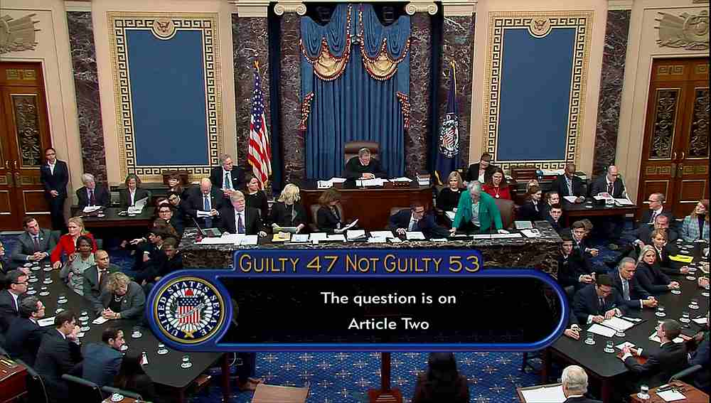 US senators cast their votes on the second article of impeachment during the Senate impeachment trial of US President Donald Trump in Washington February 5, 2020. — US Senate TV handout via Reuters