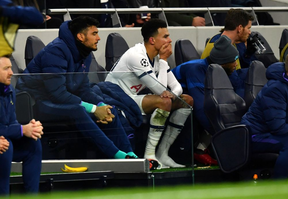 Tottenham Hotspur's Dele Alli looks dejected on the bench after he comes off as a substitute against RB Leipzig February 19, 2020. — Reuters pic pic