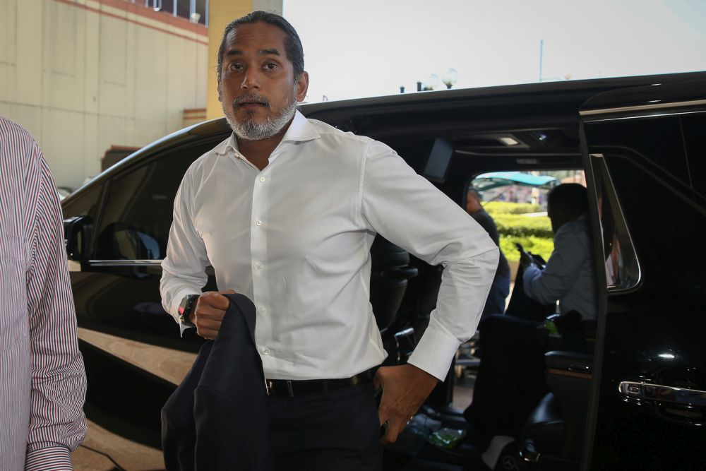 Khairy Jamaluddin arrives at Umno's headquarters in Kuala Lumpur February 25, 2020. Fifth witness Selvakumar Peace John Harris related that then youth and sports minister Khairy Jamaluddin had emailed Joshua Hilmy. — Picture by Yusof Mat Isa