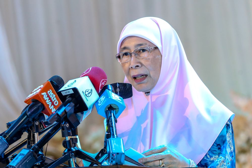 Deputy Prime Minister Datuk Seri Dr Wan Azizah Wan Ismail speaks  during a press conference in Kuala Lumpur February 9, 2020. — Picture by Firdaus Latif