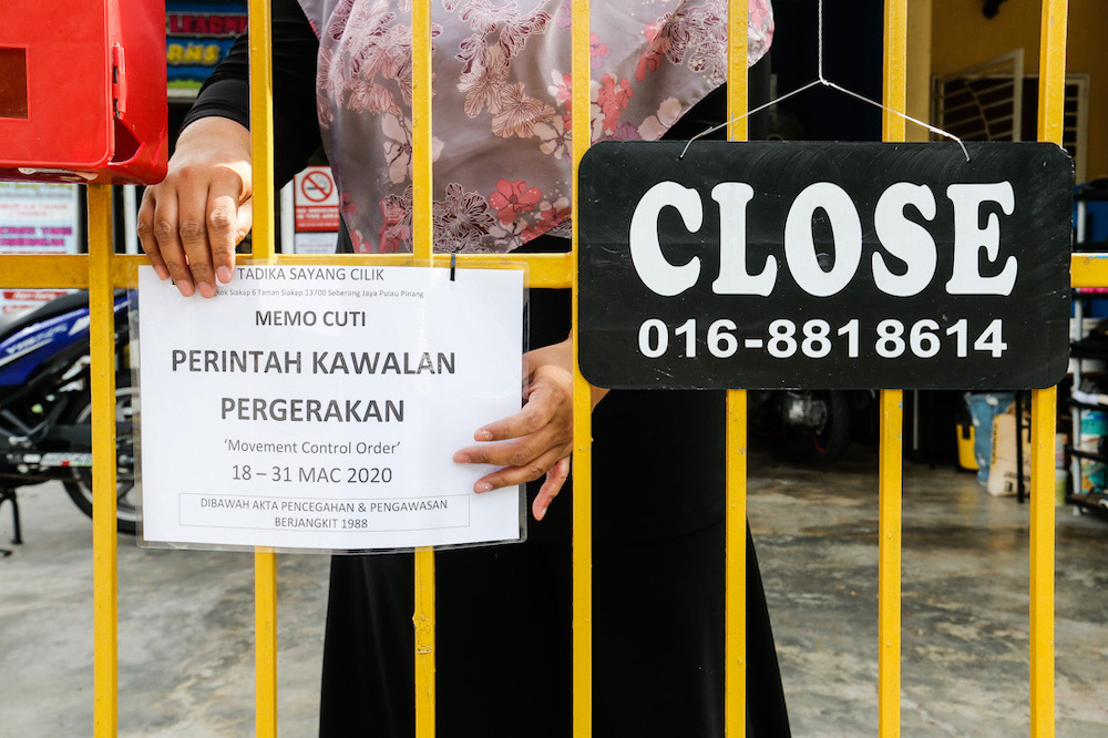 A notice of closure is seen at a kindergarten in Gelugor after the movement control order in this file picture taken on March 17, 2020. — Picture by Sayuti Zainudin