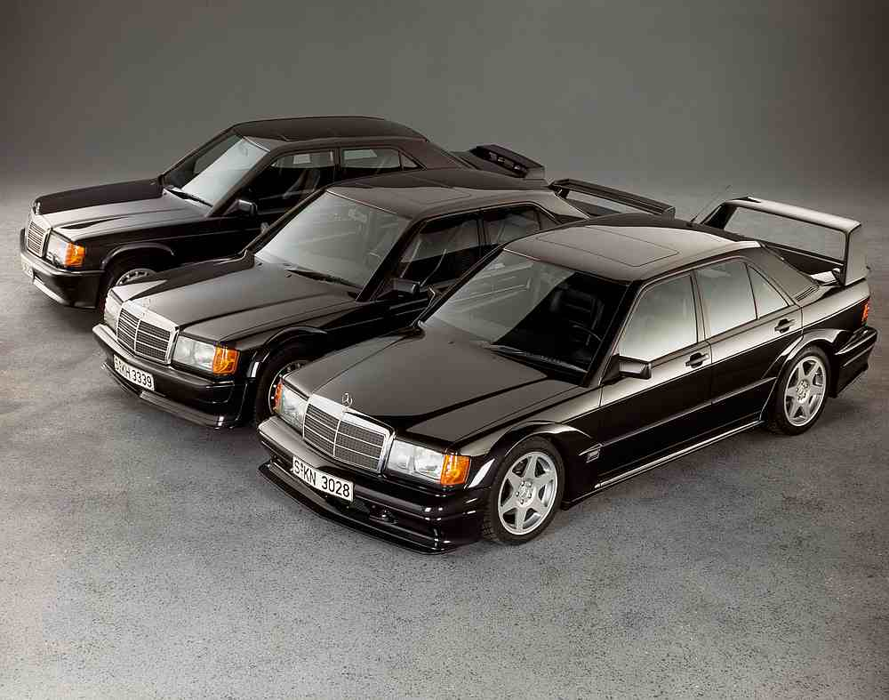 The Mercedes-Benz 190 E 2.5-16 Evolution II along with the 190 E 2.5-16 Evolution and 190 E 2.3-16. — Picture courtesy of Daimler via AFP