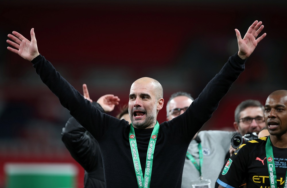 Manchester City manager Pep Guardiola celebrates winning the Carabao Cup at the Wembley Stadium in London March 1, 2020. — Reuters pic