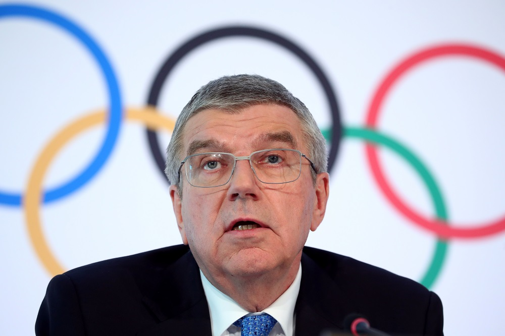 Thomas Bach, President of the International Olympic Committee attends a news conference after an Executive Board meeting in Lausanne March 4, 2020. — Reuters pic