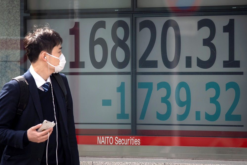 The Nikkei 225 index slipped 1.61 per cent, or 484.33 points, to 29,671.70, while the broader Topix index was down 1.82 per cent, or 35.28 points, at 1,903.07. — Reuters pic