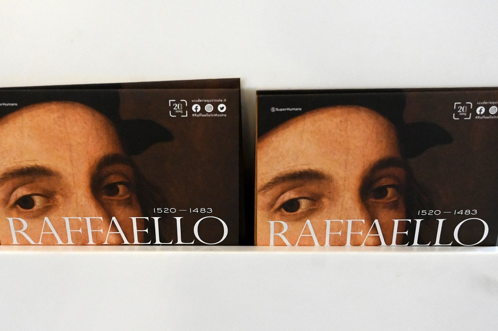Exhibition catalogues are displayed for the exhibition 'Raffaello'. — AFP Pic