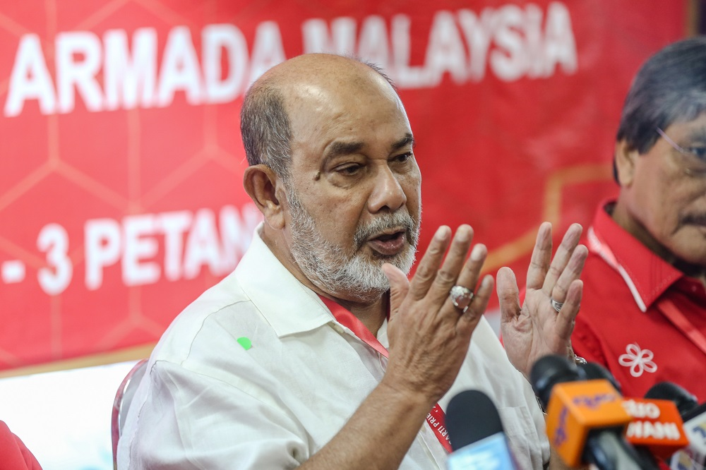 Parti Pribumi Bersatu Malaysia party election committee chairman Tan Sri Syed Hamid Albar speaks during a press conference in Petaling Jaya March 16, 2020. — Picture by Firdaus Latif