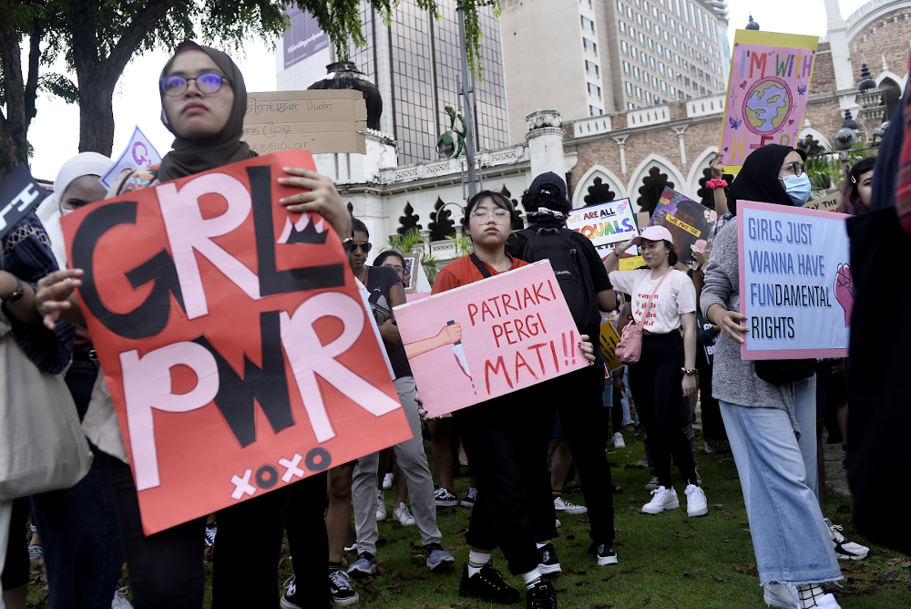 Demonstrators take part in Women's March Malaysia 2020, in conjunction with International Women's Day in Kuala Lumpur March 8, 2020. ― Picture by Miera Zulyana