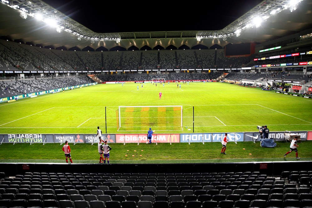 An empty Bankwest Stadium, shuttered from fans due to the Covid-19 coronavirus outbreak, is pictured during the round 24 A-League football match between Sydney FC and the Western Sydney Wanderers at Bankwest Stadium in Sydney March 21, 2020. — AFP pic
