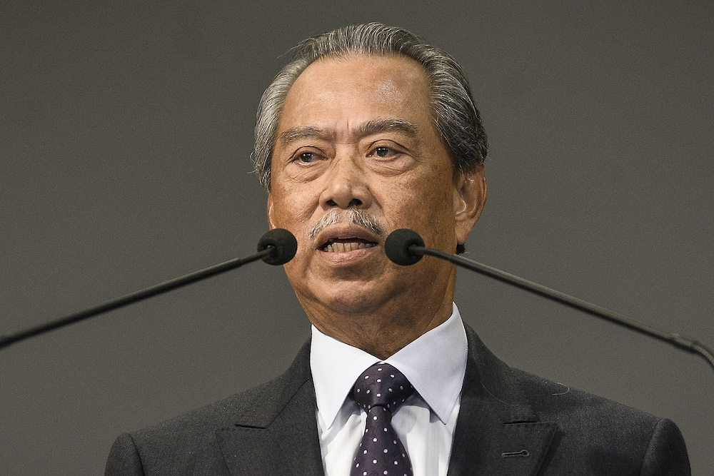 Prime Minister Tan Sri Muhyiddin Yassin speaks during a press conference in Putrajaya March 23,2020. — Picture by Miera Zulyana