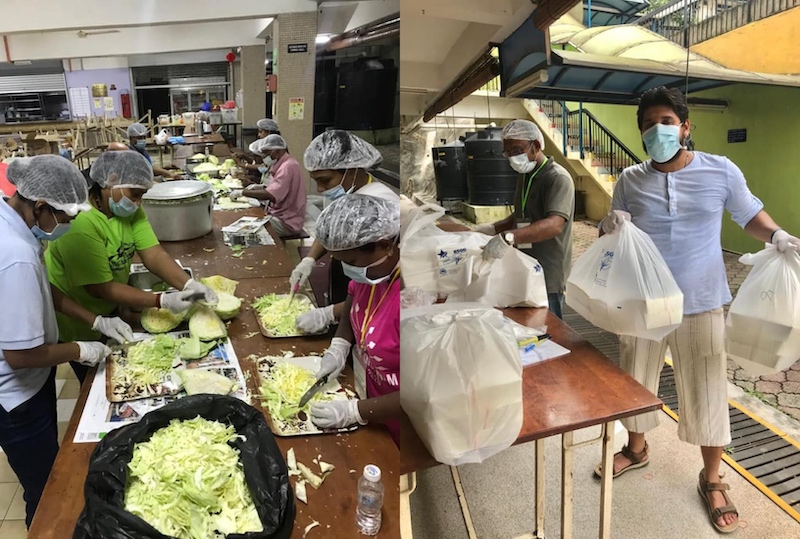Volunteers hard at work preparing meals for the needy during the movement control order (MCO). — Pictures from Facebook/UnitedMalaysianHinduVoice