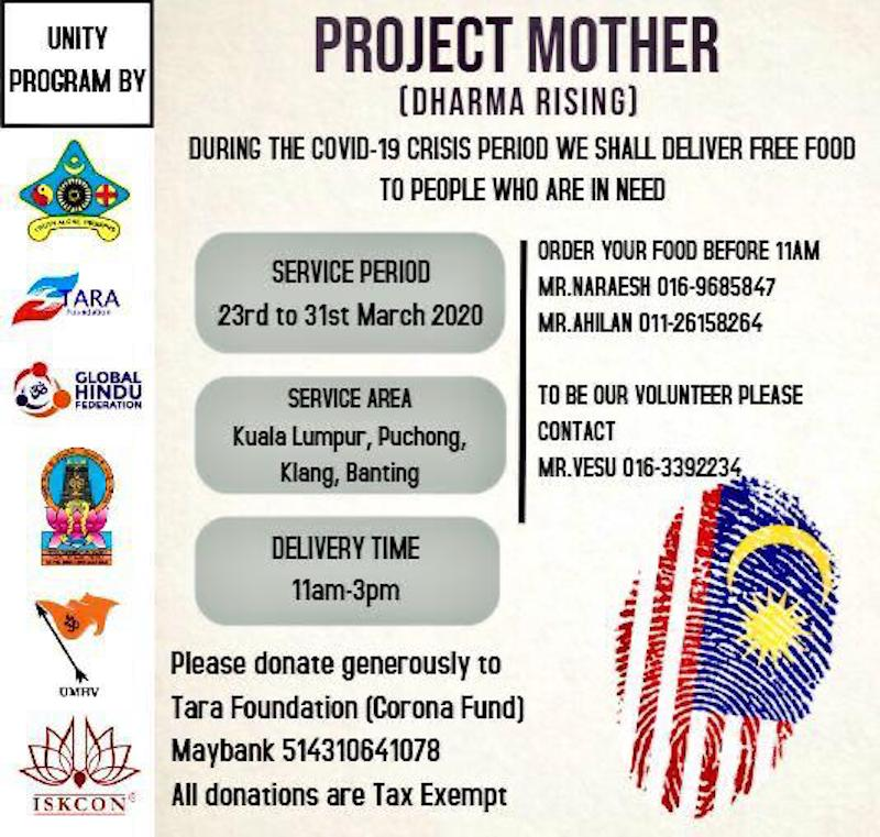 Project Mother is hoping to deliver up to 1,500 meals per day with more volunteers and aid from the public. — Picture courtesy of Vesuanathan Suppiah