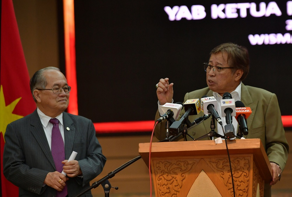Datuk Patinggi Abang Johari Openg said Sarawak expects to receive about RM3 billion in state sales tax payment for last year after winning a recent court case against Petronas. — Bernama pic