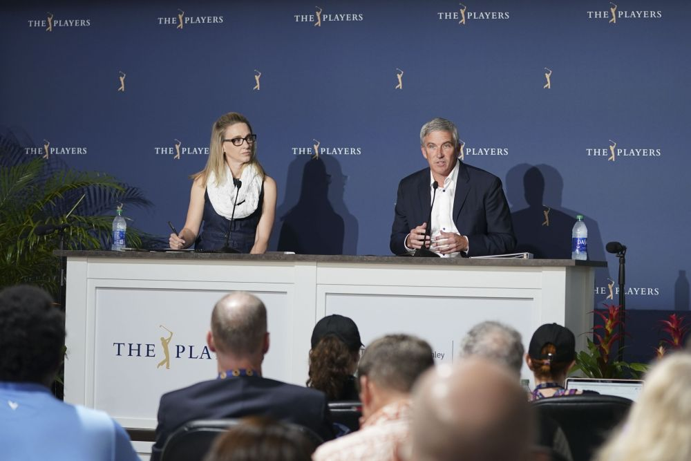 PGA Tour commissioner Jay Monahan (right) addresses the media about the coronavirus pandemic during the first round of the 2020 edition of The Players Championship golf tournament in Florida March 13, 2020. —Reuters pic