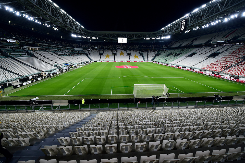 General view of empty seats inside the Allianz Stadium before the Juventus vs Milan match which is played behind closed door in Turin, March 8, 2020. — Reuters pic