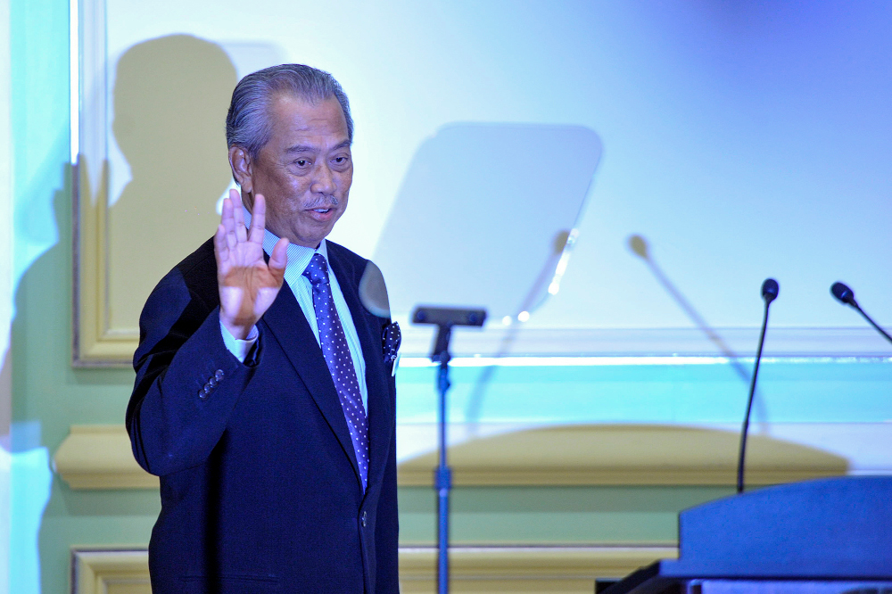 Prime Minister Tan Sri Muhyiddin Yassin during the announcement of the new Cabinet ministers at Perdana Putra in Putrajaya, March 9, 2020. — Picture by Shafwan Zaidon
