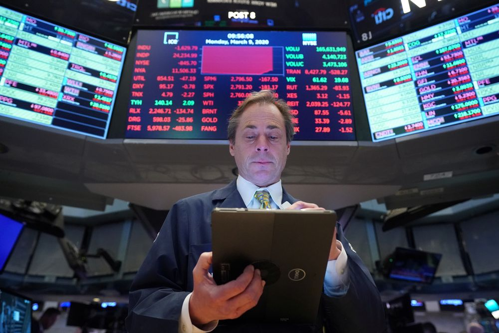 About 40 minutes into the trading day the Dow Jones Industrial Average gained about 1.0 per cent to 28,066.00 and the broad-based S&P 500 rose 0.1 per cent to 3,364.73, retreating from an earlier surge. — Reuters pic