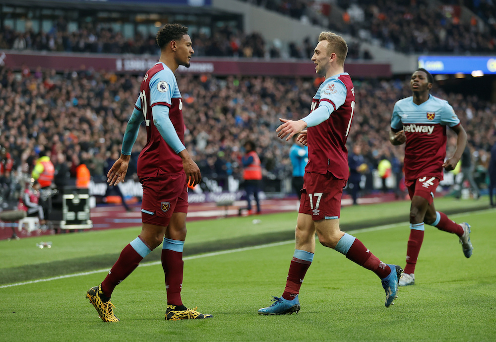 West Ham United's Sebastien Haller celebrates scoring their second goal with Jarrod Bowen and Jeremy Ngakia during their match against Southampton at the London Stadium in London, February 29, 2020. — Reuters pic