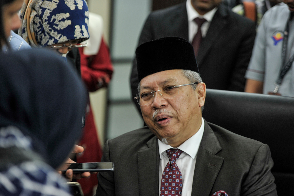 Federal Territories Minister Tan Sri Annuar Musa speaks to reporters in Putrajaya March 11, 2020. — Picture by Shafwan Zaidon
