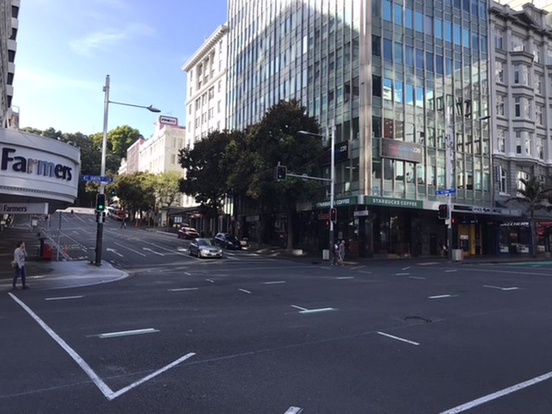 Quiet streets of Auckland during alert level three in March. — Picture by CK Lim