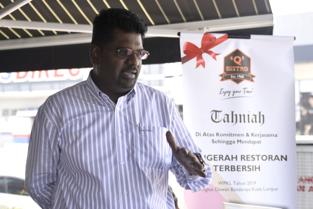 Q Bistro operations manager Francis Xavier Thomas speaks to Malay Mail during an interview in Bangsar March 18, 2020. — Picture by Miera Zulyana