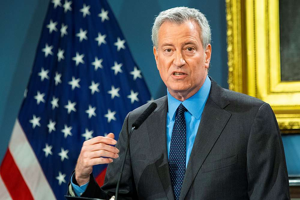 New York City Mayor Bill de Blasio speaks at a news briefing at the City Hall, New York March 14, 2020. — Reuters pic