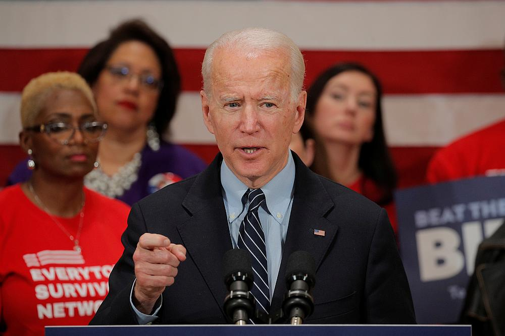 Democratic US presidential candidate and former Vice President Joe Biden speaks during a campaign stop on gun violence in Columbus, Ohio March 10, 2020. — Reuters pic