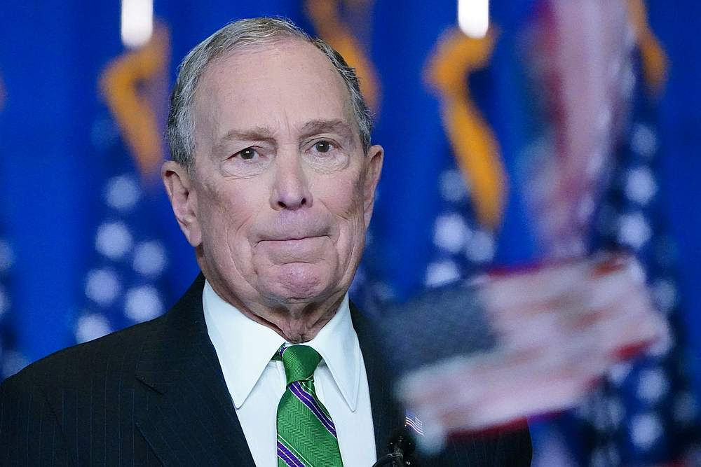 Former Democratic US presidential candidate Mike Bloomberg appears before suppoters after ending his campaign for president in Manhattan in New York March 4, 2020. — Reuters pic