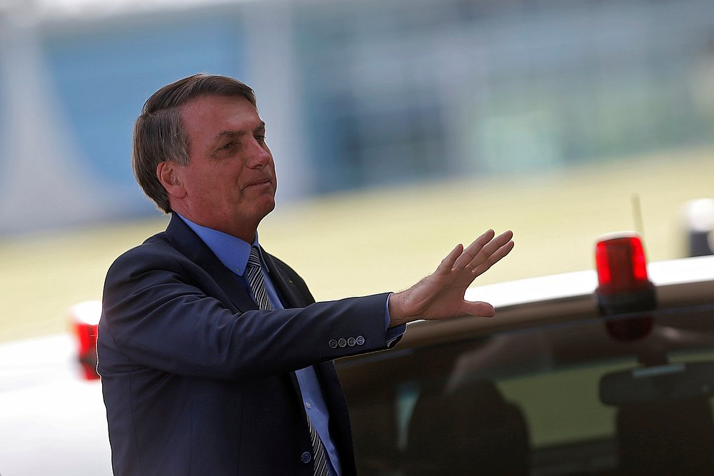 Brazil's President Jair Bolsonaro leaves Alvorada Palace in Brasilia, Brazil March 16, 2020. — Reuters pic