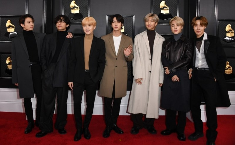 South Korean boy band BTS at the 62nd Annual Grammy Awards on January 26, 2020, in Los Angeles. ― AFP pic