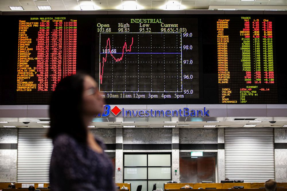 At 12.30pm, the benchmark FTSE Bursa Malaysia KLCI (FBM KLCI) eased 3.78 points, or 0.24 per cent to 1,577.76, from 1,581.54 at yesterday's close. ― Picture by Hari Anggara