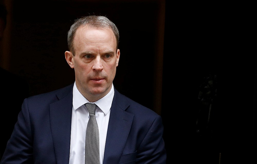 Britain's Secretary of State for Foreign affairs Dominic Raab is seen outside Downing Street, London March 17, 2020. — Reuters pic