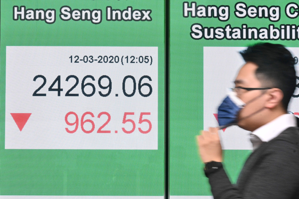 The Hang Seng Index climbed 0.47 per cent, or 114.56 points, to 24,455.41. — AFP pic