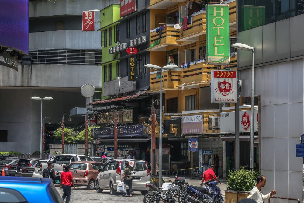 A general view of hotels lining Bukit Bintang, Kuala Lumpur March 18, 2020. — Picture by Firdaus Latif