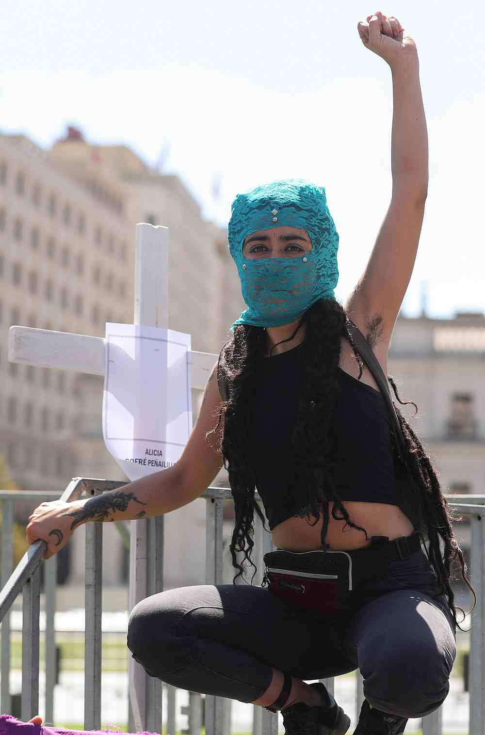 A demonstrator gestures during a rally to mark International Women's Day in Santiago, Chile March 8, 2020. — Reuters pic