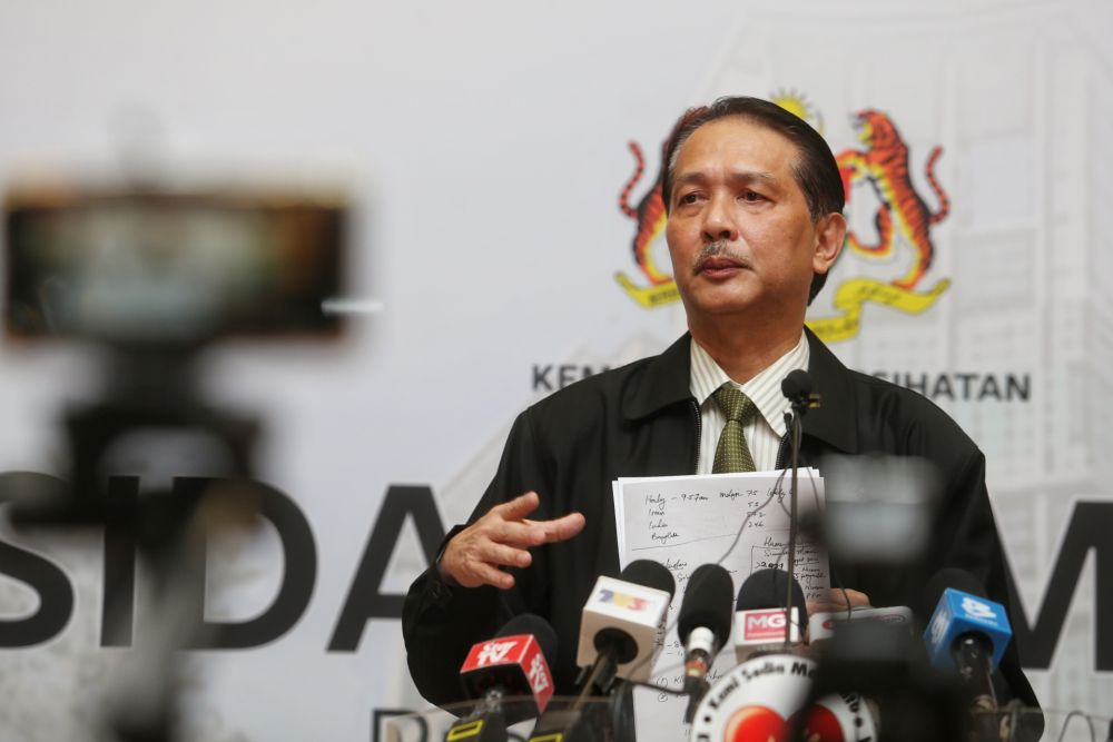 Health Director-General Datuk Dr Noor Hisham Abdullah speaks during a press conference in Putrajaya March 27, 2020. Malaysia recorded 108 Covid-19 recoveries today, the highest number so far. — Picture by Choo Choy May