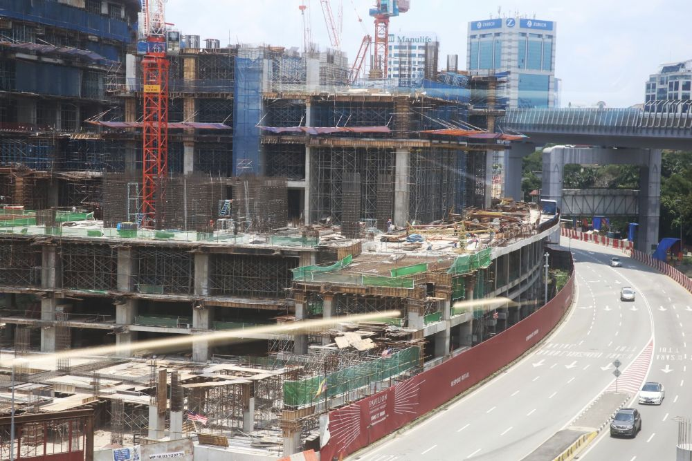 A general view of the Pavilion Damansara Heights construction site March 18, 2020. — Picture by Choo Choy May
