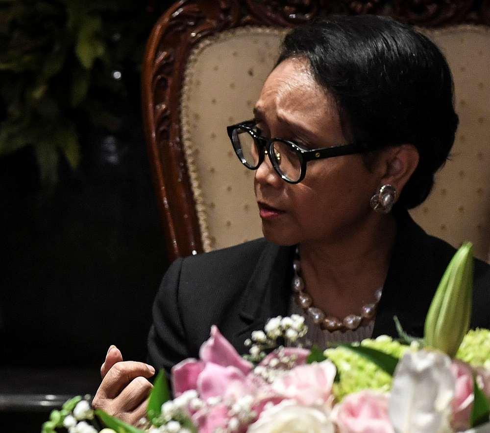 Indonesian Foreign Minister Retno Marsudi after a signing ceremony in Jakarta March 9, 2020. — Antara Foto via Reuters